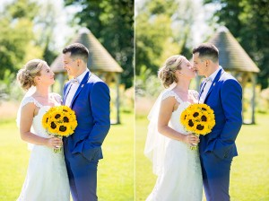 Sharing a Kiss in the garden of Priston Mill wedding