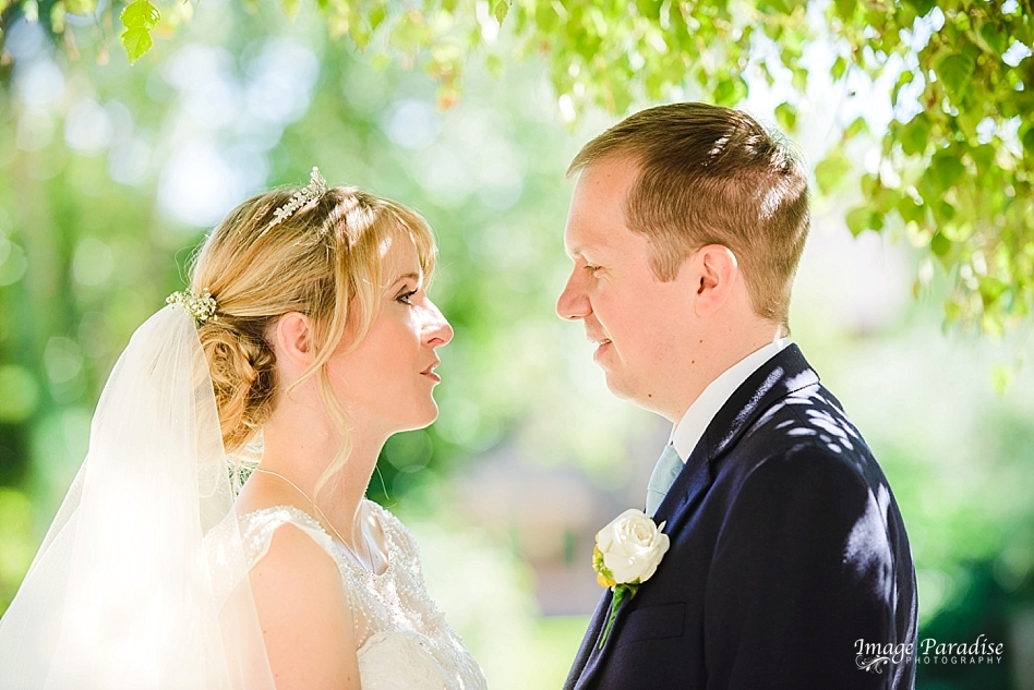 Aztec West hotel wedding portrait of bride & groom in the garden