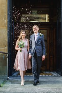 confetti shot at Bristol intimate wedding