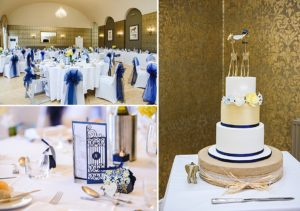 Collage of images of the wedding room set up ready for food