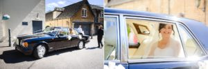 Bride arriving in her wedding car at the Hare and Hounds