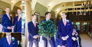 The groom waiting for his bride with groomsmen at the Hare and Hounds wedding ceremony