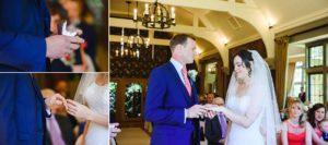 An exchange of wedding rings between the bride and groom