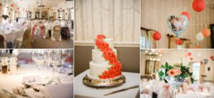 Pictures of the tables set up and wedding cake