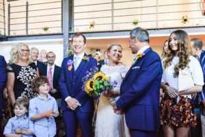 Father giving bride away at Paintwork's wedding Bristol