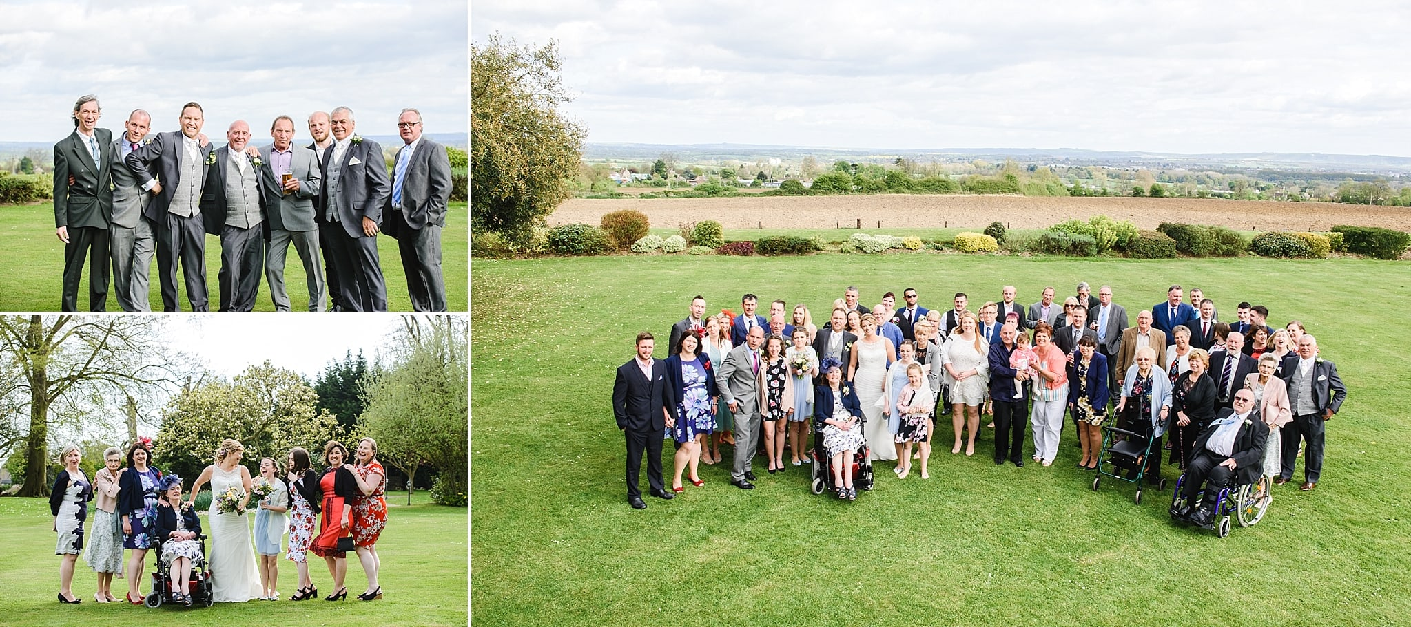 Family photo's on the grass of Leigh Park wedding venue