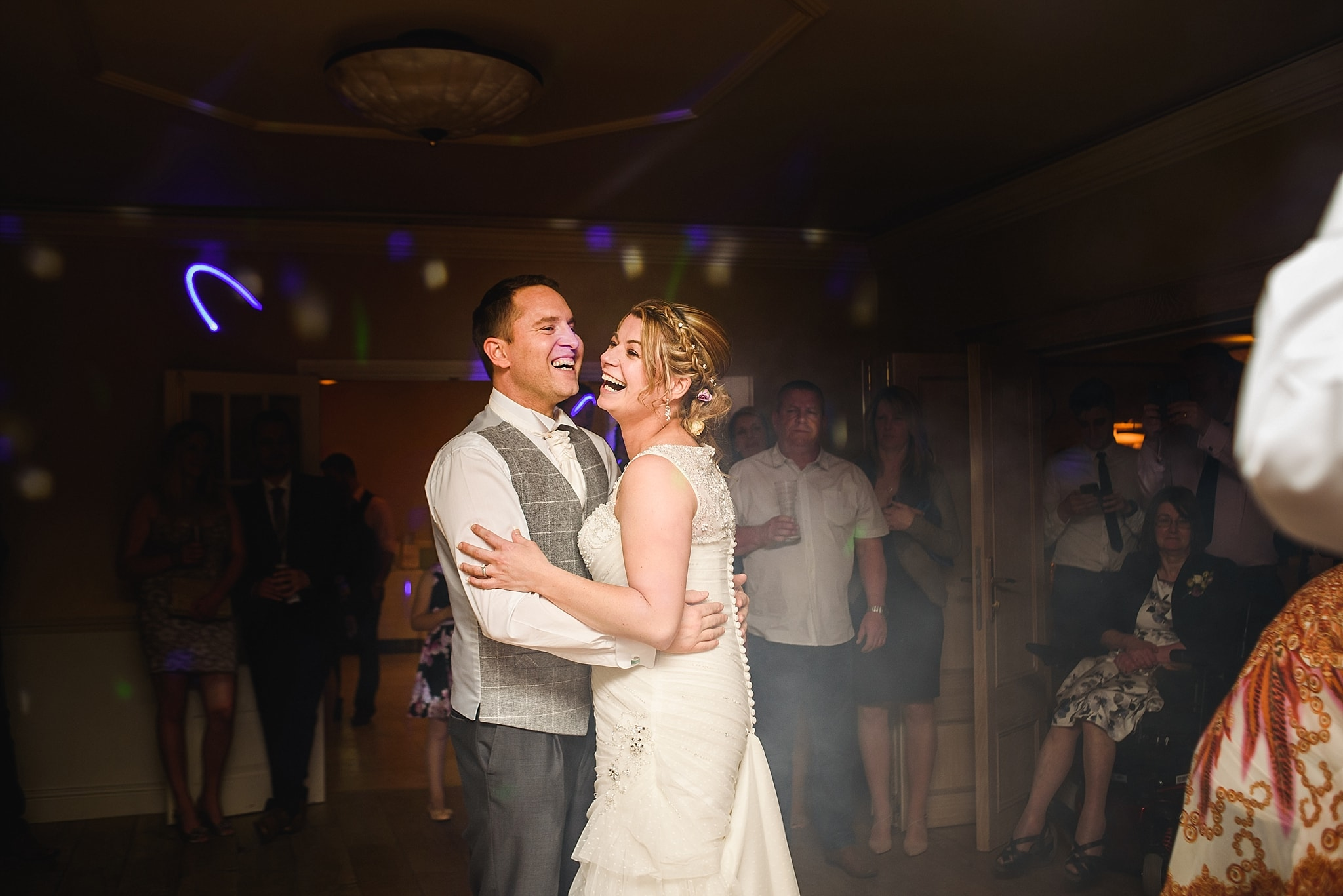 Couple dance to their first song at Leigh park hotel.
