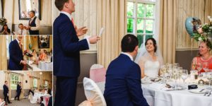 Groom stood up giving a speech to his bride