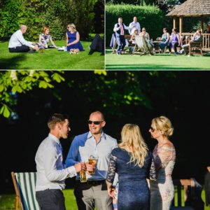 guests chilling in the garden of the Hare and hounds