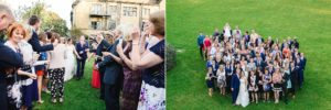 Group photo and confetti being thrown by weddings guests at the Hare and Hounds