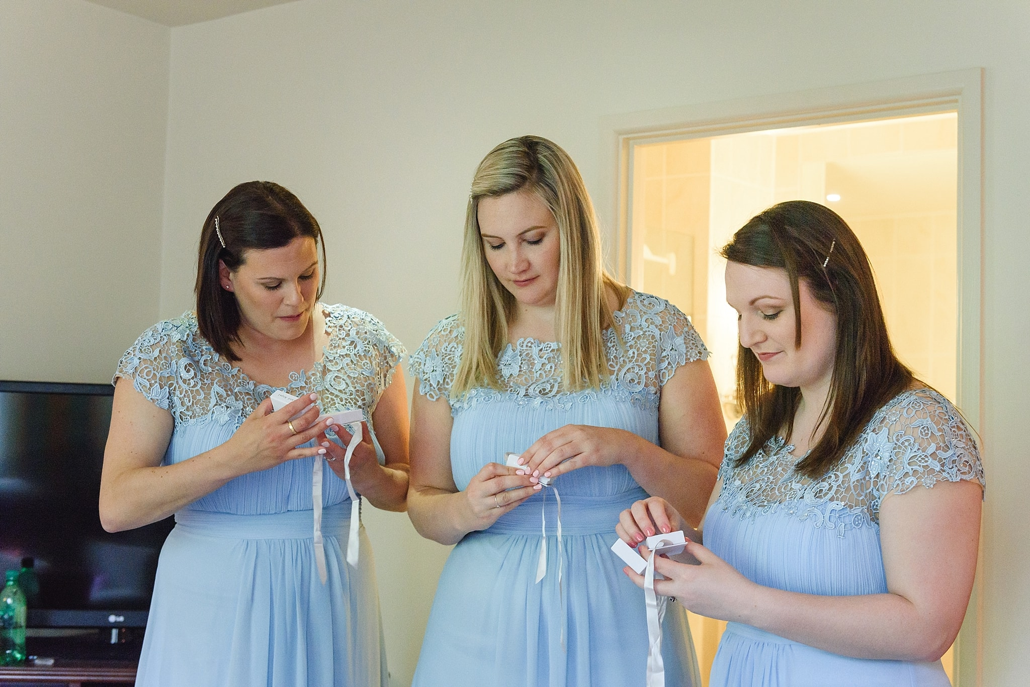 Bridesmaids opening presents