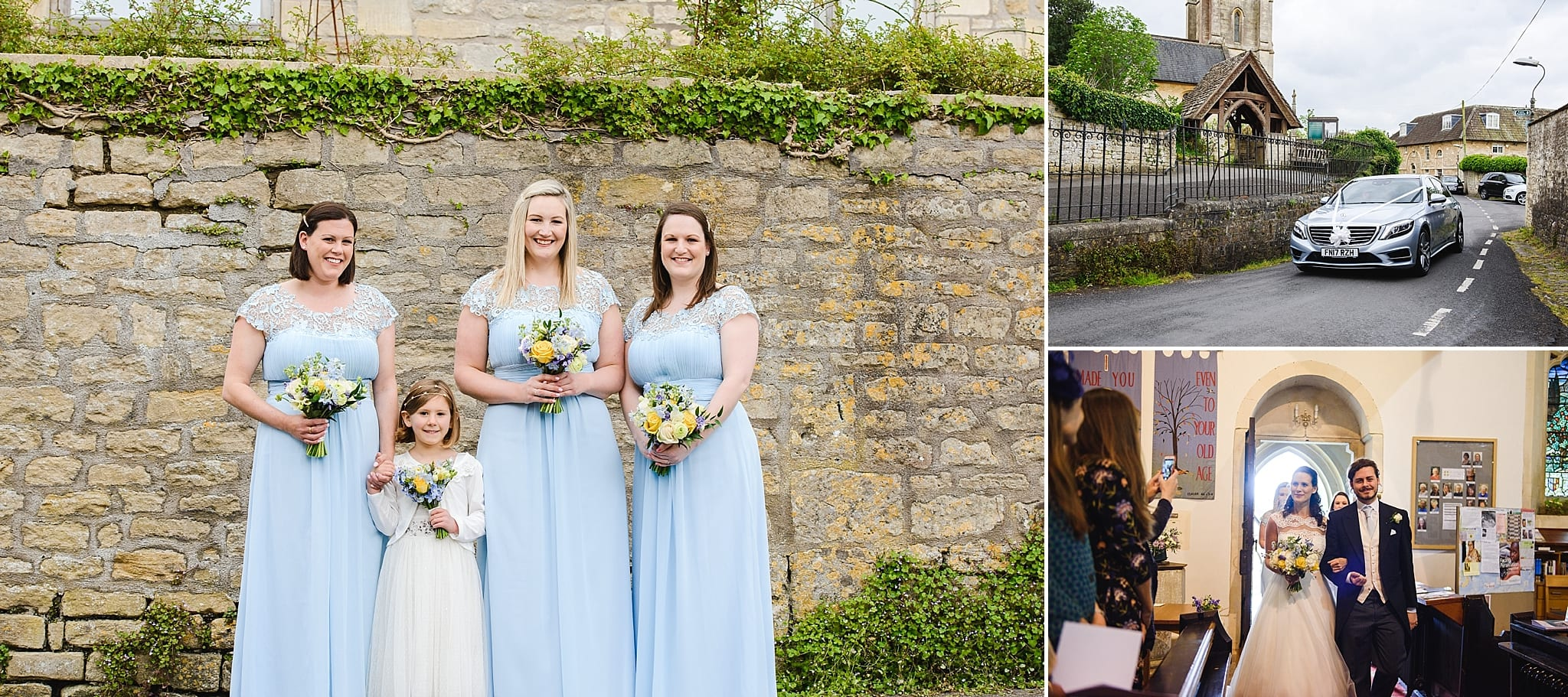 Bridesmaids awaiting the arrival of the bride outside St Swithins church, Bathford