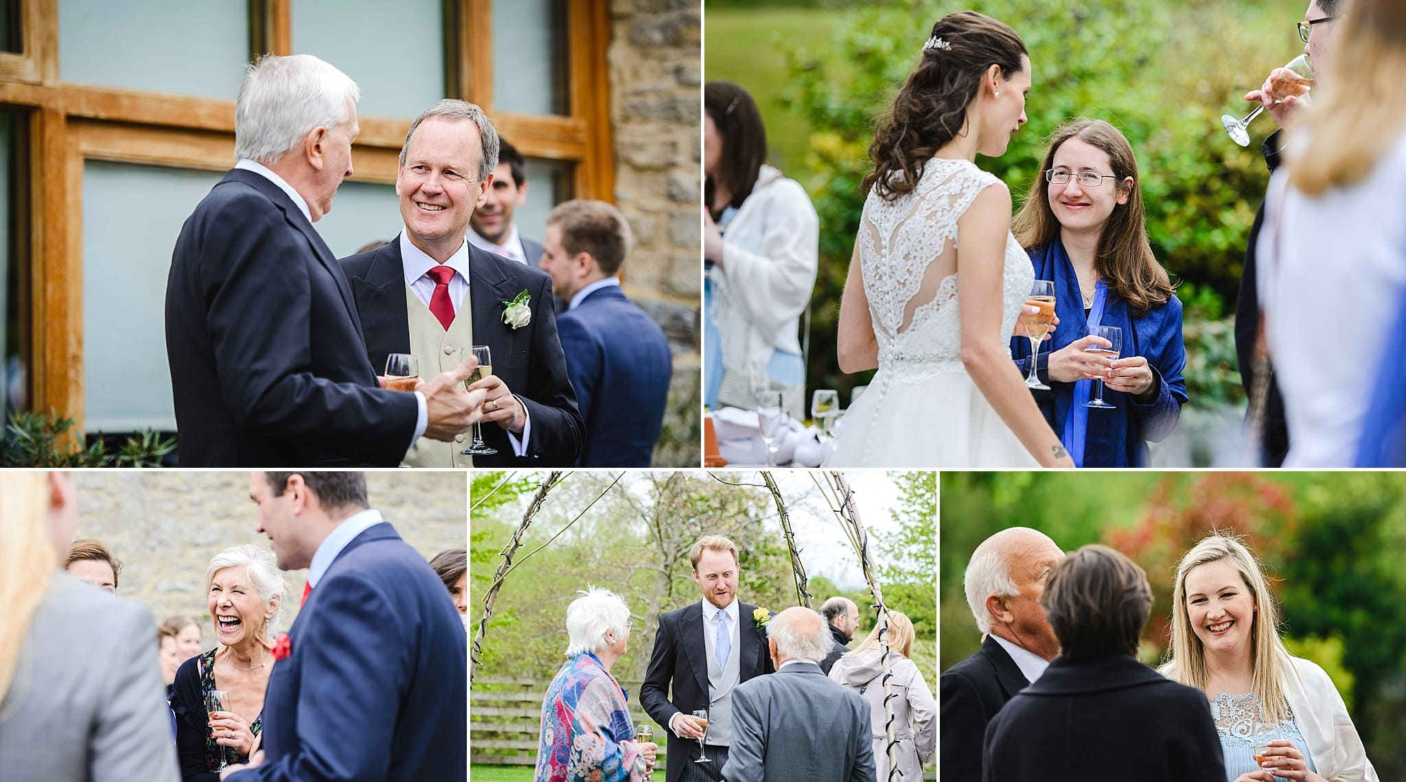 Guess enjoy welcome drinks in the garden of Wick Farm wedding Bath