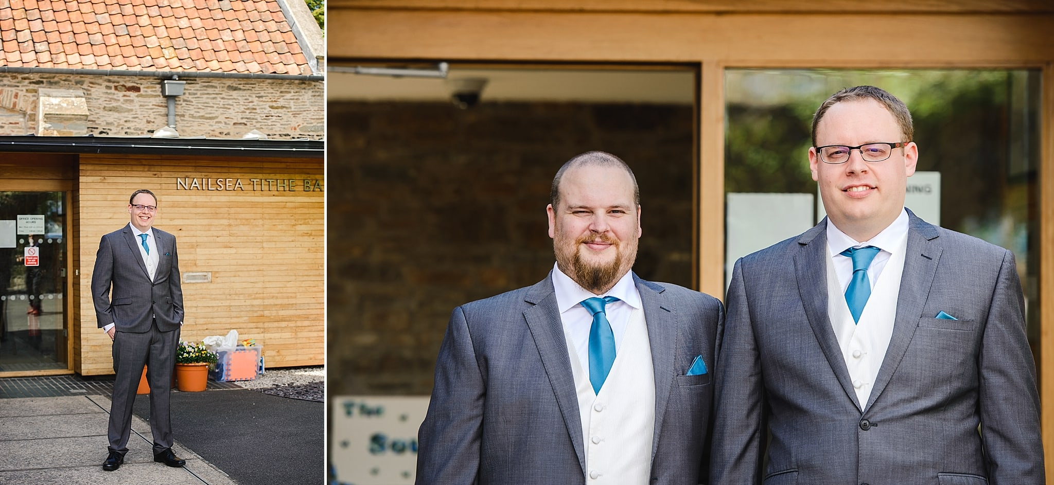 The groom with his best man stood outside Nailsea Tithe Barn