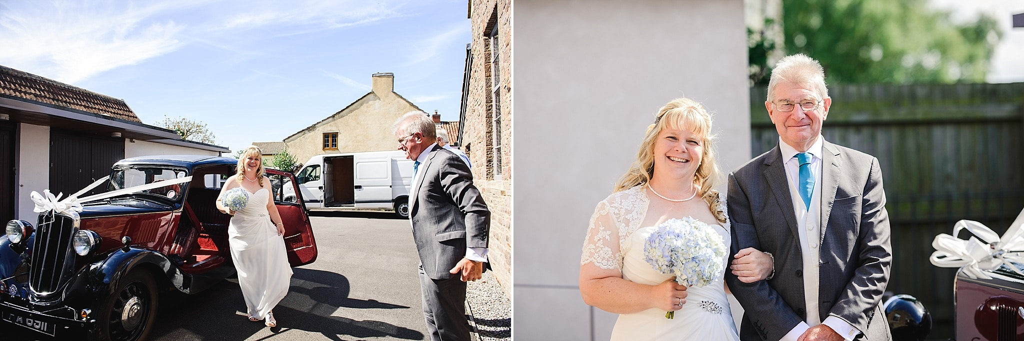 Bride arriving in wedding car and then posing for a photo with her father outside Nailsea Tithe barn