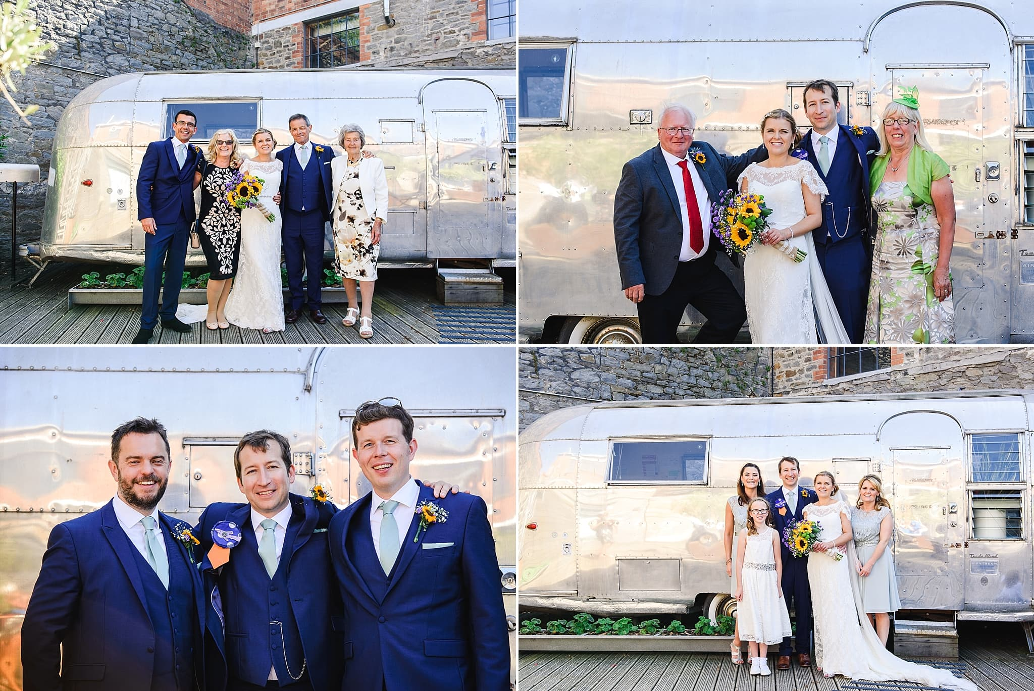 Family photo's in front of the airstream at the Paintwork's courtyard