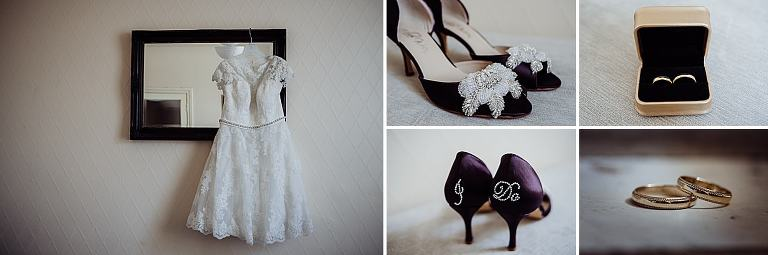 collage of wedding dress, shoes and wedding rings taken in Weston-wuper-mare bridal prep