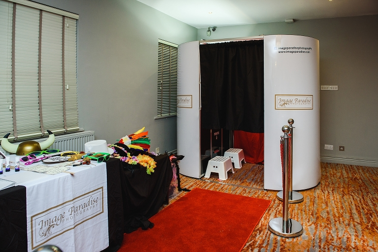 Traditional Photo Booth red curtain and carpet with various props